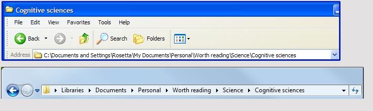An XP file path and a Windows 7 breadcrumb bar