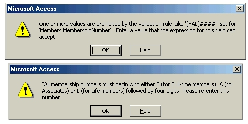 Figure 1. Which error message would you rather be confronted with?  Access's in-built one (top) or the custom-made one (bottom)? The lesson is, don't rely on inbuilt error messages – create your own so your users are informed rather than bemused.