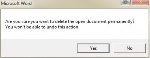 Deleting an open document in Microsoft Word