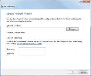 If you're using the Professional or Ultimate editions of Windows 7, you can perform backups to network drives.