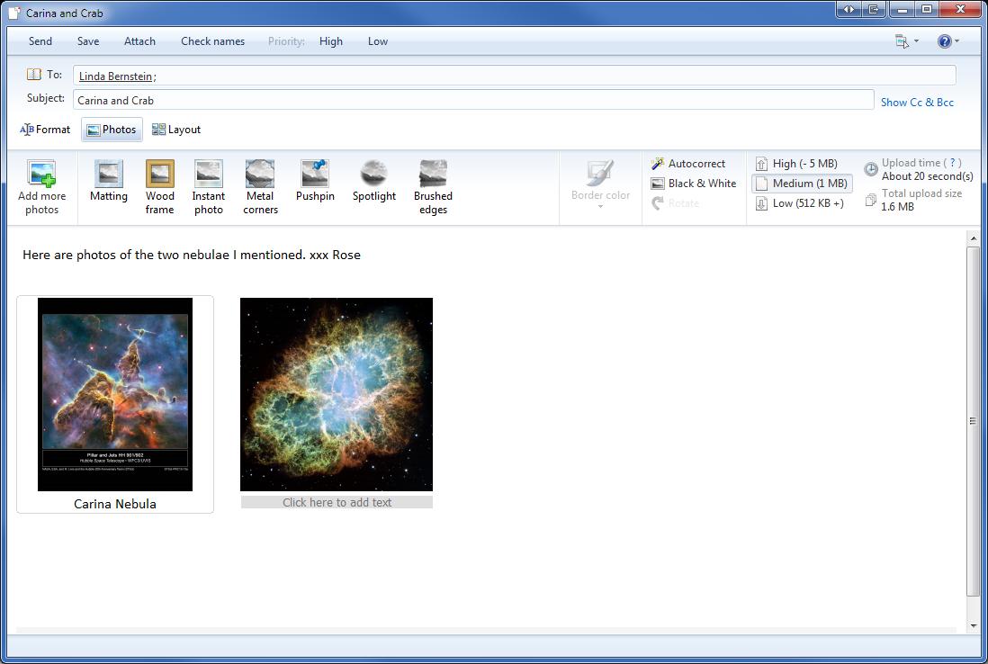 Emailing photos