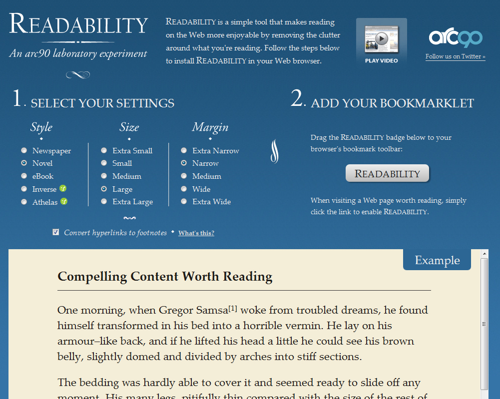 Readability's options